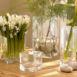 Square Vases - Whether fresh flowers or branches or dried, these simple but classic square vases will take a back seat to whatever is placed in them.