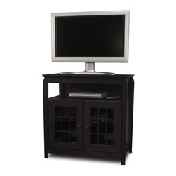"""Tech Craft - Tech-Craft Veneto Series Black 32"""" Hi-Boy Wood LCD/Plasma TV Stand - Tech Craft - TV Stands - BAY3232B. The Tech-Craft Veneto Series Black 32"""" Hi-Boy Wood Stand is perfect for a living room or bedroom setting. In a bold black finish the stand features beautiful framed doors that have a classic design suitable for any decor. With a convenient component slot and ample room for wire management the Veneto Series Black 32"""" Hi-Boy Stand is a great choice for people who like to keep their rooms tidy."""
