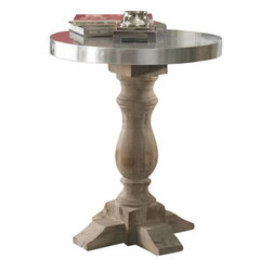 Uttermost Martel Accent Table - Natural stained, solid fir wood baluster with the soft sheen of aluminum clad on the table top. Natural stained, solid fir wood base with soft sheen of aluminum clad tabletop.