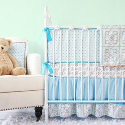 Caden Lane - Sean Vintage Aqua Crib Bedding - Moroccan inspired prints and intricately detailed geometric designs are what make the Sean baby bedding set a timeless, otherworldly choice for a nursery.  Soft hues of aqua, mint green, teal and brown are featured beautifully.