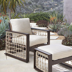 Horchow - Marina Outdoor Ottoman - Warmer weather means outdoor living, and outdoor living is comfortable and cozy with this coastal, casual outdoor lounge chair and ottoman. Each piece features a hand-welded wrought-aluminum frame with rust-resistant powder coating and rope detailing wo...