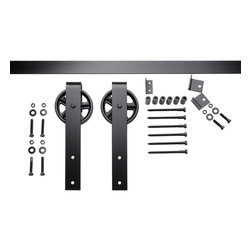 Nw Artisan Hardware - Vintage Strap Barn Door Hardware, Black, 8 ft - The Vintage Strap hanger maintains the vintage look with the spoked wheel, yet has increased weight bearing capabilities'due to the strap design. See specs for exact measurements.