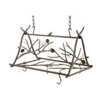 Stone County Ironworks - Pot Rack Small with 6 Hooks - Six pot hanger hooks. Entire piece is hung from hand-forged hooks. Pine cone, twig and branch design has a distinct organic feel and the hand-forged cones and needles. Hand made. Made from Iron. 26 in. W x 18 in. D x 14 in. H (28 lbs.)Dazzling hand-forged realism reflected in the natural beauty of this evergreen conifer. The gifted black-smith artisans here in the hills of Arkansas make every effort to translate every detail, from the rustic elegance of a hand-made pine-cone, to the warm texture of hammered bark. Transform any room by bringing the great outdoors inside.