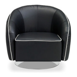 Michael Black Leather Swivel Lounge Chair - A modern takes on the classic level chair. This beauty features a polished chrome base, rich black fabric upholstery with white piping, and 360 degree swivel. Buy a Michael today and add a perfect splash of style to your home! PRODUCT DETAILS: - D 32 inch X W 32 inch X H 30 inch - Seat height: 16 - Seat depth: 23 - Black fabric upholstery with white piping - Chrome swivel base
