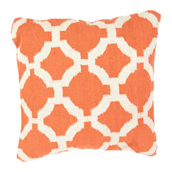 """Jaipur Rugs - Orange/Ivory color cotton cad03 pillow poly fill pillow 18""""X18"""" - Hand woven from 100% cotton the Cadiz pillow collection offers a range of open geometrics in bold color combinations. The collection coordinates with Jaipur Maroc and Urban bungalow flat weave rugs."""