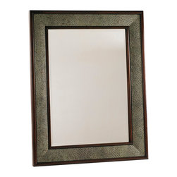 Lexington - Lexington Henry Link Trading Co. Cameroon Mirror 4011-252 - Mahogany frame in a French Walnut finish with perimeter in sage embossed ostrich leather.