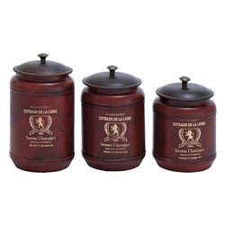 Benzara - Canisters in Red Shade with Transitional Style - Set of 3 - This set of 3 metal canisters adds up to the complete look of your designer kitchen. Perfectly suitable for any style decor, this set adds to the traditional feel of your conventional home and plays a bright contrast by offering a vintage appeal to your ultra modern kitchen. The set boasts of a sturdy and finest quality metal construction to ensure a long life and durability. These canisters are sure to be with you for years to come with the same look and charm. Available in a brick red color with a highlight contrast of the black lid on top, this set offers a charm to the ambience along with optimum utility. Available in three different sizes, you can use them to store your cereals and other important utility kitchen items with utmost ease.