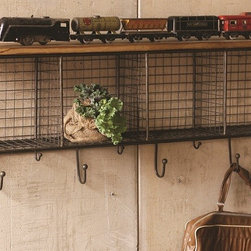 Large Wire Shelf With Wooden Top & Hooks - This charming industrial Wire Shelf has 4 cubbies, perfect for keeping your foyer or entryway organized. The wood shelf is great to store and showcase your valuables while you hang your raincoat and car keys on one of the hooks. This great piece is practical and pretty… The perfect combination!