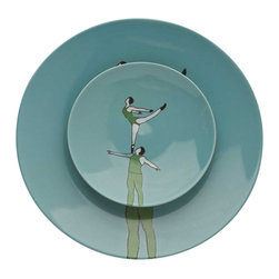 Piling Palang - Piling Palang - Acrobats Blue Plates set with two - Set with a big and a small blue plate from the Acrobats Collection.