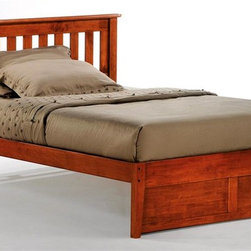 Night & Day Furniture - Rosemary Twin Platform Bed in Cherry (Twin) - Choose Bed Size: TwinBed includes headboard, footboard, rail and slat. 100% Malaysian Rubberwood construction. Warranty: 10 years. Cherry finishBed dimensions:. Twin Headboard: 41.3 in. W x 44.7 in. L (22 lbs.). Twin Footboard: 16.3 in. W x 42.4 in. L (11 lbs.). Twin Overall: 76 in. L x 44.7 in. W. Full Headboard: 41.3 in. W x 59.7 in. L (30.9 lbs.). Full Footboard: 16.3 in. W x 57.3 in. L (15.4 lbs.). Queen Headboard: 41.3 in. W x 65.7 in. L (35.3 lbs.). Queen Footboard: 16.3 in. W x 63.3 in. L (22 lbs.). Eastern King Headboard: 41.3 in. W x 81.7 in. L (39.7 lbs.). Eastern King Footboard: 16.3 in. W x 79.4 in. L (26.5 lbs.)Have you ever noticed that rosemary will grow nearly anywhere, in nearly any environment? And it adds great taste to whatever it's combined with. That's one attractive, tough and versatile ingredient. Similarities to our Rosemary bed are absolutely striking.