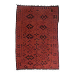 "Darya Rugs - Darya Rugs Kilim, Red, 6'8"" x 9'10"" M1785-367 - Darya Rugs Kilim collection rugs are craftily woven using the flat-weave knotting technique. Kilims have a low-pile, maintaining its original, ethnic and tribal essence. Kilim rugs are flat woven, meaning they are thin, similar to throw rugs."