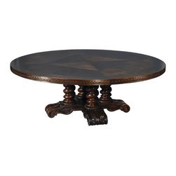 "Ambella Home - Castilian Round Dining Table - 86"" - Dining in the round means a lot more people can sit at a table than at a rectangular one. So if you like to entertain, this solid oak table features a hand-carved border, a twisted column pedestal base and a rich mahogany finish. It will put an end to fighting over who has to straddle the legs."