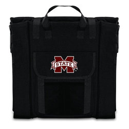 Picnic Time - Mississippi State Stadium Seat in Black - The Stadium Seat is ideal for anyone who enjoys sporting events, concerts, or other arena activities. This padded seat is made of durable 600D polyester and provides maximum seat support, which is especially useful when sitting on hard bleacher seats or benches. EPE foam in the seat's core also insulates your seat from cold bleachers. A large zippered pocket keeps all of your essentials within reach. Convenient carry straps allows the seat to be carried as a folded tote. You'll want to take the Stadium Seat to every spectator event to ensure your seating comfort.; College Name: Mississippi State; Mascot: Bulldogs; Decoration: Digital Print