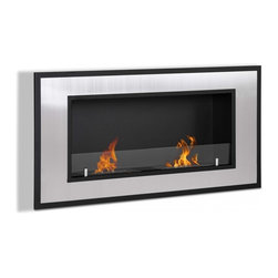 Wall Mount Ventless Ethanol Fireplace - Bellezza - This sophisticated ethanol fireplace will lend itself to any décor, stainless steel and black powder coated steel make up this beautiful unit. The glass shield gives you a safety barrier and adds a touch of design. Two ethanol burners provide the beautiful flame.