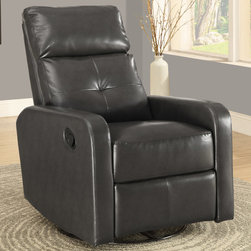 """Monarch - Charcoal Grey Bonded Leather Swivel Glider Recliner - This contemporary design accent chair combines 3 functional elements, it swivels, it glides, and it reclines, ensuring that you are always in a comfortable position. This grey bonded leather chair with a padded head rest was designed for ultimate comfort. Whether reading a book or watching sports this will be the chair that everyone will want to sit on. The easy glide motion and the contemporary design makes it a chic and fashionable addition for your den, bedroom, living room or basement. It truly is a chair for any room in your home.; Material: PU, Wood, Foam; Dimensions: 28.5""""L x 36""""W x 40""""H; Seat depth: 19.75""""; Seat height from floor: 20"""""""