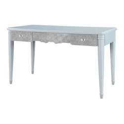 Mame Vanity/Desk, Light Blue - Isn't this just the most feminine desk you've ever seen? I love the lines on the front of the drawers and the iridescent sheen it gives off. I think it's the perfect addition to a woman's home office.