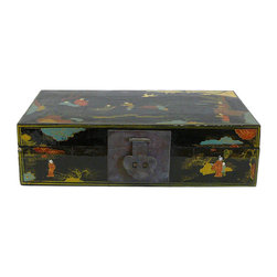 Golden Lotus - Chinese People Color Scenery Lacquer Box - This is a decorative box with black lacquer base and colorful people and flower graphics. (Hand made item, position of people may be different )