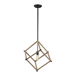 Trans Globe Lighting - Trans Globe Lighting PND-991 Rope Wrap Square Transitional Pendant Light - Natural rope wrapped geometric shapes show off creative style. Bold display when shown with vintage filament bulbs. Open frame invites entertainment and compliments minimalist furnishing. Hang from high ceiling for an airy appeal.