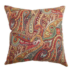 The Pillow Collection - Wanda Paisley Pillow Carribean - Adorn your home with this gorgeous throw paisley pillow for a romantic and colorful vibe. This accent pillow features intricate paisley prints in Carribean hues. The lovely print combined with pretty colors in green, white, blue, yellow, red and brown makes this a perfect statement piece. The fabric is made from 95% high quality cotton and 5% linen. Hidden zipper closure for easy cover removal.  Knife edge finish on all four sides.  Reversible pillow with the same fabric on the back side.  Spot cleaning suggested.