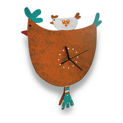 Whimsical Hen and Baby Chick Pendulum Wall Clock Metal Art - Add a charming accent to your country kitchen with this colorful clock, featuring a chick and a hen with pendulum legs kicking back and forth. It is hand crafted from recycled metal materials and measures 15 inches (38 cm) tall, 10.5 inches (27 cm) long, and 2.5 inches (6 cm) deep. The clock features a quartz movement and runs on 1 AAA battery (not included). A hand-painted finish completes the feel of home-style craftwork. This piece makes a unique accent as a useful, decorative timepiece and it makes a wonderful gift.