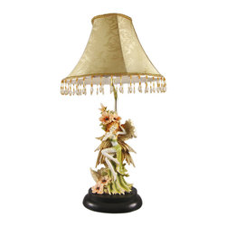 Beautiful Flower Fairy Table Lamp W/ Shade - This adorable table lamp is a great addition to bedrooms, hallways and living rooms. Made of cold cast resin, the lamp features an earth-toned fairy in a long green skirt nestling up against some flowers. The lamp measures 19 inches tall (with the golden flowered shade accented with hundreds of beads), and the shade is 10 inches in diameter. The detail is incredible, down to the ivy wrap on her left thigh. The lamp takes standard light bulbs up to 60 watts. It comes with a 5 foot power cord with a thumb wheel toggle switch She`ll make a fine gift for any fairy lover.