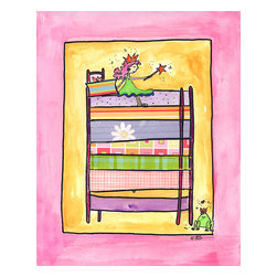 Oh How Cute Kids by Serena Bowman - Once Upon A Mattress, Ready To Hang Canvas Kid's Wall Decor, 8 X 10 - Part of my Fairy Tale Princess series. So far as I can remember we have Sleeping beauty, Cinderella, Alice in wonderland, Rapunzel, Princess and the Pea and probably a couple more that I am forgetting!  Each are sold separately but coordinates with everything in the series for an easy fun room decor!