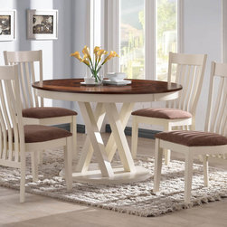 """Coaster - Naomi 42"""" Round Dining Table - This lovely country style dining collection will look great in any style of home. The 48"""" round table features a rustic pecan table top with beautiful inlays for impressive dining. Four matching side chairs feature stern bent slat backs, upholstered cushion seats for great comfort, and square tapered legs below. The collection is crafted from select woods and okume veneers. Naomi 42"""" Round Dining Table only. Chairs not included.; Collection: Naomi; Style: Country; Finish/Color: Rustic Pecan & Buttermilk; Room Size: Moderate; Dimensions: 48.00""""L x 48.00""""W x 30.00""""H"""