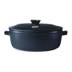 "Emile Henry - Emile Henry Flame Top Oval Stew Pot 4.9 qt. - Black - Emile Henry new Flame-Top line introduced a new ceramic technology that can be used in all types of cooktops and ovens. With the exception of induction cooktop, Flame-Top cookware is versatile enough and keep food hot longer. Every piece of the flame cookware comes with a footed base that facilitates heat diffusion. Significantly lighter then cast iron and much more durable then other ceramics, clay, or glass casseroles, the Flame-Top stew pot can be used everyday for all sorts of cooking. The Flame-Top cookware can even go under the broiler and directly from a freezer or refrigerator into a hot oven. Its surface cleans up easily and it is so durable that a cook can cut directly in the cookware"" even with an electric knife without fear of scratching, chipping or cracking the surface. All glazes used by Emily Henry are lead and cadmium free. Made of innovative ceramic technology that is remarkably hard and flame-proof so it can be used directly on a heat source whether it is a stovetop or a grill and then can be placed in the oven for gentle, flavor-producing simmer Higher heat tolerance than most metal, glass or ceramic cookware, can sit on a very hot open flame, empty for a extended period of time and it won't crack, discolor or break 4.2 qt. capacity Cooks evenly and keeps food hot longer Light, easy to handle. Shock resistant. Footed base for heat diffusion. Dishwasher safe.. Made in France. 10-Years warranty."