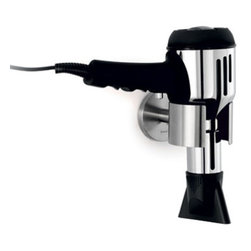 Blomus - PRIMO Hair Dryer Holder, Polished - Bathroom space is as valuable as gold in any home. The wall-mounting PRIMO Hair Dryer Holder maximizes on space by keeping your dryer off precious counter space, and freeing and it up of unnecessary clutter. Beautifully designed in matte or polished stainless steel for a stylishly chic aesthetic.