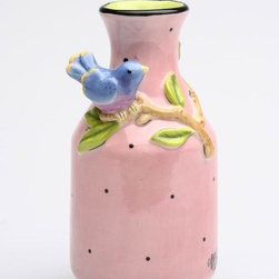ATD - 5.38 Inch Pink Vase with Black Polka Dots, Blue Bird and Tree Branch - This gorgeous 5.38 Inch Pink Vase with Black Polka Dots, Blue Bird and Tree Branch has the finest details and highest quality you will find anywhere! 5.38 Inch Pink Vase with Black Polka Dots, Blue Bird and Tree Branch is truly remarkable.