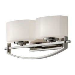 Feiss - Feiss Bleeker Street Two Light Polished Nickel Opal Etch Glass Vanity - This Two Light Vanity is part of the Bleeker Street Collection and has a Polished Nickel Finish and Opal Etch Glass. It is Damp Rated.