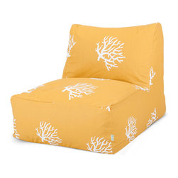 Majestic Home - Outdoor Yellow Coral Bean Bag Chair Lounger - Literally laid back, this lounger is a beanbag done better for your favorite setting — indoors or out. UV protection built into the fabric means it can take a weather beating and still look beautiful. And spills? No prob. Just unzip and toss in the wash.