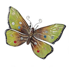 """EttansPalace - 25""""W Large Butterfly Metal Wall Sculpture - Make a big buzz on your home or garden walls! With a wingspan of around two feet, our butterfly sparkles in the light with multi-hued glitter and glass cabochons! Hand-crafted in metal to draw the attention of every eye, this splendid Butterfly wall sculpture."""