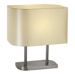 Joshua Marshal - One Light Brushed Nickel Platinum Sheen Leaf Shaped Shade Table Lamp - One Light Brushed Nickel Platinum Sheen Leaf Shaped Shade Table Lamp