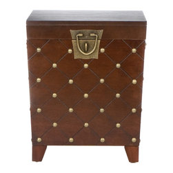 Holly & Martin - Holly & Martin Caldwell Trunk End Table-Espresso - With a deep espresso finish and antique gold nail heads this trunk has a worldly appeal. Each nail head is placed at the intersections of the grooved diamond pattern lines that wrap around the body of the trunk. The lid lifts to reveal an extra large storage area that is ideal for pillows, blankets and other household necessities. Durable metal hardware finishes the piece with handles and a decorative padlock latch.