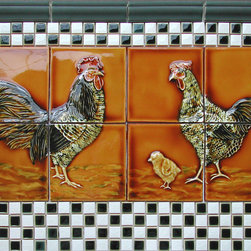 Decorative Relief Tile Ideas - Rooster and Chicken handpainted tile