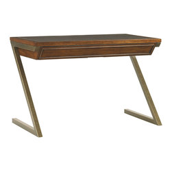"Lexington - Lexington Longboat Key Harborview 46"" Table Desk 279LK-411 - Inspired by the next generation, the metal Z legs create interest, yet provide ample support. The single box drawer includes a pencil tray to stay organized and close at hand and the leather top is a perfect work surface."