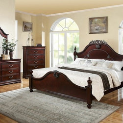 "Acme - 5-Piece Gwyneth Collection Cherry Finish Wood with Intricate Design Carvings - 5-Piece Gwyneth collection cherry finish wood with intricate design carvings on the headboard and footboard queen bedroom set. This set includes the queen bed with headboard and footboard, nightstand, dresser, mirror and chest. Queen bed measures 63"" H to the top of the headboard. Nightstand measures 26"" x 16"" x 28"" H. Dresser measures 63"" x 16"" x 34"" H. Mirror measures 42"" x 46"". Chest measures 38"" x 16"" x 52"" H. Some assembly required."