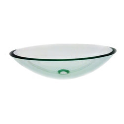 """Legion Furniture - Oval Clear Glass Vessel Sink 5 - This oval glass vessel sink  is made of high quality tempered glass. This clear  glass sink will look great in any bathroom.  Material: Double Layer Tempered Glass; Color: Clear; Dimensions: 21"""" X 15"""" X 5.5""""; Thickness: 0.6""""; Drain Hole: 1.75""""; Weight: 20 lbs; Installation: Top Mount; Included: Chrome Pop-Up Drain; Not Included: Faucet."""