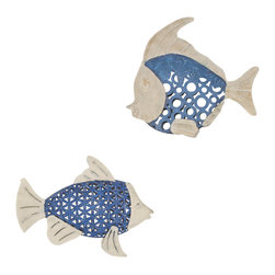 Welcome Home Accents - Seablue Fish Wall Art-Set of 2 - Set of 2 open metal work fish wall art. Both fish are finished in a distressed blue and weathered white. Use alone or as a group. Hooks on back for easy hanging. Dust with a dry cloth. Made in China.