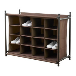 Home Decorators Collection - 16-Compartment Shoe Organizer - Our 16-Compartment Shoe Organizer will help you cut the clutter. Each sturdy fabric compartment is large enough for a pair of shoes but can also hold accessories, craft supplies and other items. These freestanding organizers can be stacked to satisfy your storage and space needs; the solid top can be used as a display shelf. 16 cubbies for shoes and accessories. Solid top can be used as a shelf. Chocolate brown polyester fabric wipes clean. Metal tube frame in brown finish. Freestanding and stackable. Easy assembly.