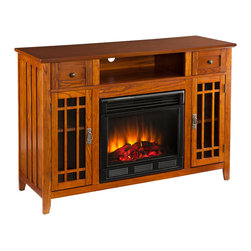 Holly & Martin - Marcel Media Electric Fireplace - This versatile media fireplace is as lovely as it is practical. The earthy, oak finish and mission design pair with multipurpose storage options in the ultimate media fireplace. To top it off, this fireplace requires no electrician or contractor for installation, allowing for instant remodeling without the usual mess or expenses.