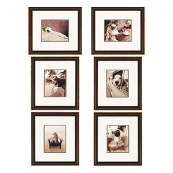 Paragon Decor - Sepia Dogs Set of 6 Artwork - The first two pieces are horizontal.  The remaining images are vertical.