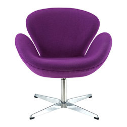 Modway Furniture - Modway Wing Lounge Chair in Purple - Lounge Chair in Purple belongs to Wing  Collection by Modway Perhaps no chair is more synonymous with organic design than the Wing chair. First intended as an outstretched reception chair, the piece is expansive like the wings of its namesake. While organic living promotes the harmonious balance between human habitation and the natural world, achieving proper balance is a challenge.   It is often left to the designers, those creative leaders of the generation, to guide the way. While the padded fiberglass shell is upholstered in a layer of fabric, the admiration for this piece comes from a much deeper source. First developed in the mid-20th century, the Wing chair is a testament to the potential inherent in human endeavor. While the chair rests firmly on a sturdy polished aluminum frame, it's the abandonment from the particulars of engineering and industry that make it so endearing. Set Includes: One - Wing Chair  Lounge (1)