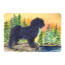 Caroline's Treasures - Puli Kitchen or Bath Mat 20 x 30 - Kitchen or Bath Comfort Floor Mat This mat is 20 inch by 30 inch. Comfort Mat / Carpet / Rug that is Made and Printed in the USA. A foam cushion is attached to the bottom of the mat for comfort when standing. The mat has been permanently dyed for moderate traffic. Durable and fade resistant. The back of the mat is rubber backed to keep the mat from slipping on a smooth floor. Use pressure and water from garden hose or power washer to clean the mat. Vacuuming only with the hard wood floor setting, as to not pull up the knap of the felt. Avoid soap or cleaner that produces suds when cleaning. It will be difficult to get the suds out of the mat.