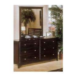 Alpine Furniture - Portola 6-Drawer Dresser w Mirror (Light Cher - Finish: Light CherrySide mounted ball bearing metal glides. Six months warranty. Made from select solids and veneer. Made in Indonesia. No assembly required. Mirror thickness: 1 in.. Mirror: 38 in. W x 40 in. H. Dresser: 66 in. W x 20 in. D x 34 in. H