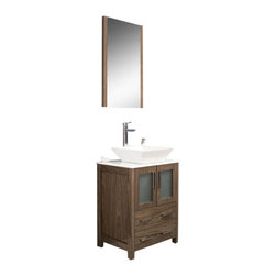 """Fresca - Torino 24"""" Walnut Brown Vanity w/ Vessel Sink Soana Brushed Nickel Faucet - Fresca is pleased to usher in a new age of customization with the introduction of its Torino line.  The frosted glass panels of the doors balance out the sleek and modern lines of Torino, making it fit perfectly in eithertown or country decor."""