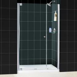 """DreamLine - DreamLine DL-6202C-01CL Elegance Shower Door & Base - DreamLine Elegance Frameless Pivot Shower Door and SlimLine 36"""" by 48"""" Single Threshold Shower Base"""