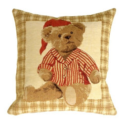 Pillow Decor - Pillow Decor - Tapestry Sleepy Time Teddy Pillow - Ready for bed time in his striped pajamas and red cap, this jaunty bear is framed by a caramel colored tartan border. The rich detail of his furry coat reveal the fine quality of this Flemish tapestry. Imported from Belgium, this pillow is the ideal choice for a nursery, child's room, or a special corner of grandma's house where the young ones gather.