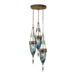 Fine Art Lamps - Scheherazade Blue Glass Pendant, 608640-3ST - Let this trio of handblown baskets strung on delicate chains cast its magical spell on your space. Note how the aged bronze finish of the intricate metalwork complements the rich hues of the glass.